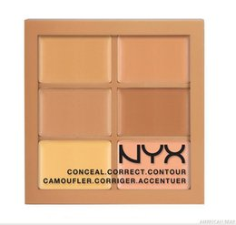 Wholesale Cheap Palettes - in stock 6 Colors NYX Concealer Makeup Conceal Correct Contour Palette Brand Face Beauty Cosmetic Cheap Price On Sale Free Shipping