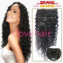 "Wholesale Virgin Hair Deep Wave Clips - Clip in real human hair extensions 9pcs full head set 100% brazilian virgin hair deep Wave clip in hair extensions #1b 8""-24"""
