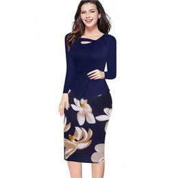 Wholesale Women S Office Wear Wholesale - Wholesale- 2016 Fall Winter Women Floral Print Patchwork Working Sheath Full Sleeve Bodycon Office Wear Plus Size 4XL 5XL Pencil Dress