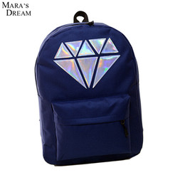 Wholesale Big Red Laser - Wholesale- Mara's Dream Girl Fresh Style Backpack Candy Color Print Laser Diamond Double Zipper Softback Big Capacity Couple Bag Backpack
