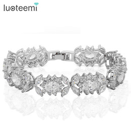 Wholesale Brazil Indians - LUOTEEMI Hot Sell In Brazil! White Cubic Zirconia Bracelet for Women Clear Color AAA Zircon Copper Bracelets & Bangles Jewelry