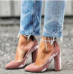 Wholesale Talons Fashion - Latest 2017 Fashion Lady Talons Sexy Pointed Toe Pumps Wine Red Pink Party Evening Shoes Woman Ankle Strap Velvet Block Heels