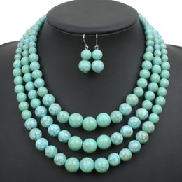Wholesale Green Howlite Turquoise Beads - multi strand howlite bead necklace new fashion plastic resin turquoise color women collares jewelry statement necklace 6520