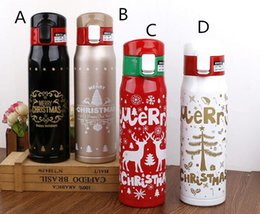 Wholesale Cartoon Hand Warmer - 12pcs 500ml 4 colors Christmas lovers water cup stainless steel personality student water cup birthday present