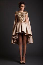 Wholesale Mini Skirt Sheer Lace - Arab Dubai short ball gown wedding dresses 2017 krikor Jabotian dresses with gold lace appliques sequin beaded