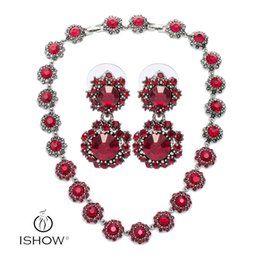 Wholesale 14k Gold Star Stud Earrings - 1 sets Antique Sliver Red Crystal jewelry set parure bijoux femme necklace stud earrings Shining Elegant Famous star party jewelry sets