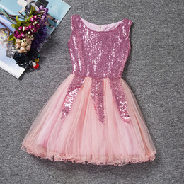 Wholesale Netting Skirts - 2017 new girls triangular sequins dress yarn dress girls summer net yarn sleeveless dress poncho children skirt