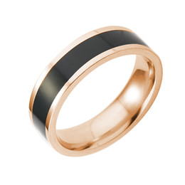 Wholesale Couples Black Wedding Bands - 316L Stainless Steel High Polished White Black Stripe Ring For Men Women Couple Wedding Band Simple Jewelry Ring