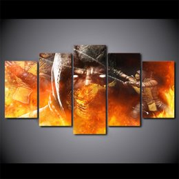 Wholesale Hd Movie Pictures - 5 Pcs Set Framed HD Printed Comic Mortal Kombat Fire Mask Poster Picture Wall Art Room Decor Canvas Movie Modern Oil Painting