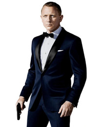 Wholesale Navy Costumes For Men - Wholesale- New Arrival costume homme maillot homme Custom Made Navy Blue Wedding Men Suits Slim Fit Bridegroom Suits Groom Suits For Men