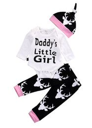 Wholesale Girls Rompers Suits - Infant baby Girls Clothes Toddler Clothing Set Kids Romper Suit Long Sleeve Pajamas 3pcs Daddy's Little Girl Printed Rompers Legging pants