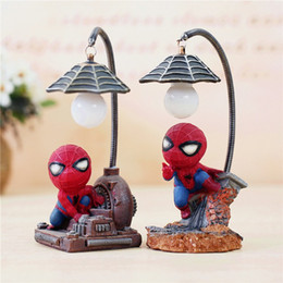 Wholesale Child Tables - Creative Marvel heroes Nightlight,Spider man lamp for child holiday Christmas decoration night lights Bedroom Desk table color light