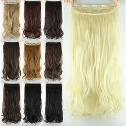 "Wholesale Long Wavy Clip Extensions - Wholesale-1PC New 20""60cm Natural Hair Extension Women Long Wavy Clip in Hair Extensions Multi-color Heat Resistance Wholesale 110g"