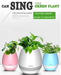 Wholesale Mini Flower Pots Wholesale - Hot mini smart flowerpot sensor Bluetooth speaker Flower pot Plastic Green plant pots decorative Macetas pot Playing Smart Music