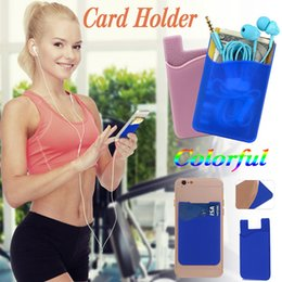 Wholesale Wholesale Cases For Smartphones - Ultra-slim Self Adhesive Credit Card Case Stick-on Wallet Card Set Card Holder Silicone For iPhone X 8 7 Plus Smartphones Samsung S8