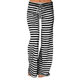 Wholesale Strip Wide - Women Yoga Pants Cotton Wide Leg Sports Long Pants Stripped High Waist Yoga Pant 5 Colors