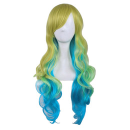 Wholesale Cosplay Multicolour Wigs - WoodFestival gradient multicolour heat resistant fiber wavy long wig cosplay anime women mixed color wigs synthetic hair bangs