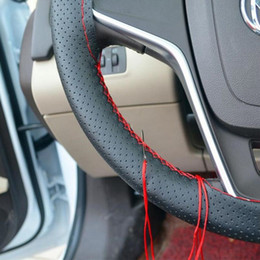 Wholesale Steering Wheel Cover Soft Leather - DIY Car Steering Wheel Cover With Needles and Thread Artificial leather Auto Car Soft Anti-slip Car Steering Cover Black Braid With Needles