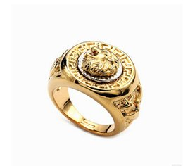 Wholesale ring size 17 - Europe fashion and personality lion head alloy electroplating ring jewelry Eu size 17-24#