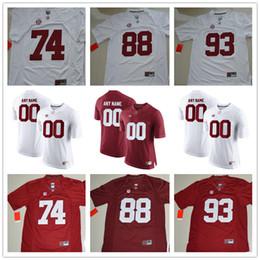 148ba39fb Alabama Crimson Tide 74 Jedrick Wills Jr. 88 Major Tennison 93 Phidarian  Mathis White Red Stitched College Football Black Jerseys S-3XL