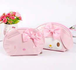 Wholesale Melody Case - Wholesale- Super Kawaii Bright PU Hello Kitty , Melody Rabbit Women's Hand Coin Bag Handbag , 14*12CM Coin Wallet Purse Pouch Case
