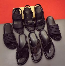 Wholesale Male Latex Rubber - new summer 2017 a word procrastinates sandals male rivet leather red bottom beach slippers man word procrastinates tide size 38-45 DHL free
