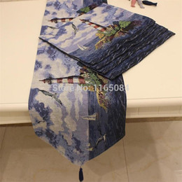 Wholesale Rustic Table Runners - Wholesale- Hot selling Fabric tablecloth dining table cloth cushion rustic fashion table runner Mediterranean Lighthouse pattern006