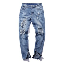 Wholesale Mens Skinny Pencil Jeans - Wholesale- Men ankle zipper ripped jeans kanye west hip hop distressed biker jeans mens justin bieber fear of god style black denim pants