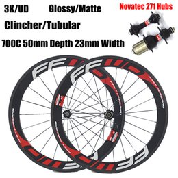 Wholesale Novatec Hub Road - FFWD Carbon Wheels 700C 50mm Depth 23mm Width Clincher Tubular 3K UD Matte Glossy Full Carbon Wheelset With Novatec 271 Hubs
