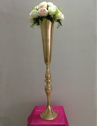 Wholesale Wedding Flower Vase Centerpiece - 88cm height silver  gold metal candle holder candle stand wedding centerpiece event road lead flower vase 12 pcs  lot