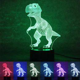 Wholesale Dinosaur Light Lamp - 3D Dinosaur Night Light Touch Switch 7 Different Color Fairy Night Lights USB Powered Table Desk Lamp Decor