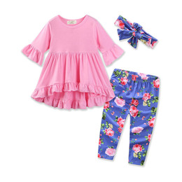 Argentina Western Girls rosa tres quater manga ropa conjunto 3pcs Floral niños impresos ropa Pascua niños Toddler Outfit supplier kids western clothes Suministro