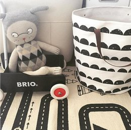 Wholesale Round Storage Baskets - Wholesale- Laundry basket only for children room decoration toys cleared can stand canvas STORAGE BAG bearing 1.5KG top