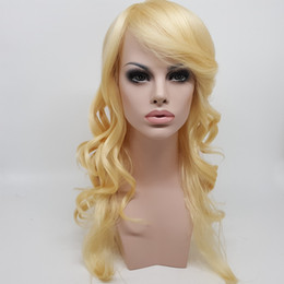 Wholesale Wholesale Sexy Wigs - In The United States Long Big Waves Of Gold Points Gold White Straight Can Be Hot And In The Synthesis Of Curly Sexy Women Who Have A Bang