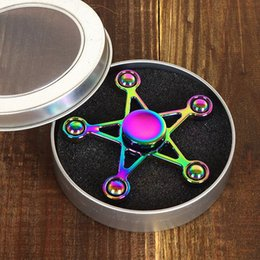 Wholesale Toy Metal Stars - Newest Hand Spinner Toys EDC For Decompression Anxiety Triangle Metal Alloy Spiral Rainbow Finger Five-Pointed Star Fingertips Gyro