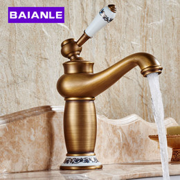 Wholesale Bath Taps Wall Mounted - Wholesale- Hot sale Bathroom Basin Faucet ,Antique bronze Brass Mixer Tap with ceramic sink faucet, bath mixer Free Shipping