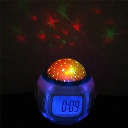 Wholesale Calendars Music - LED Alarm Clock Battery Operated Electronic Music Starry Sky Projection Desktop alarm Clocks with Calendar for Children Kids