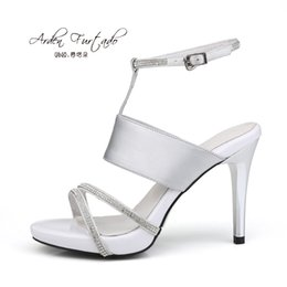 Wholesale New Style Sandals For Women - 2017 new style summer shoes for woman genuine leather high heels sexy stiletto heel silver sandals buckle strap 10cm women club party shoes