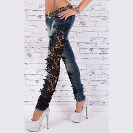 Wholesale Girls Leggings Zipper - Wholesale- Women Jeans With Lace 2016 Pencil Leggings Autumn Patchwork Jeans Denim Pants Girls Sexy Casual Skinny Jeans Autumn