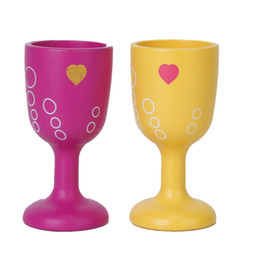 Wholesale Dollhouse Cups - Wholesale- 2pcs Wooden Dollhouse Miniature Wine Cup Goblet Kids Play House Toy Doll House Decoration Classic Kichen Bar Toy for Children