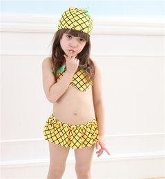 Wholesale Hot Cute Bikini Girl - 2017 Tropical Swimsuit children swimsuit cute pineapple bikini girl baby two piece hot spring swimsuit