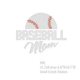 Wholesale Bling Shirts Rhinestone - 30pcs lot Bling Bling Rhinestone Transfers Hot Fix Motif DIY Baseball Hotfix Design For T-shirt