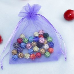 Wholesale Small Party Favor Bag - Drawable Small Sheer Organza Drawstring Jewelry Pouches Party Wedding Favor Packaging Candy Wrap Square Gift Bag 10 colors 7x9cm