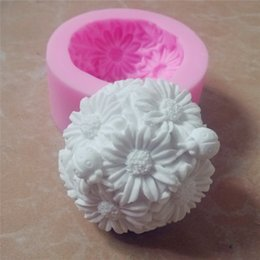 Wholesale Silicone Molds For Candles - Great-Mold Round Flower Silicone Soap Mold Candle Mold 3D Chocolate Sugar Molds Silicone Mould for Soap