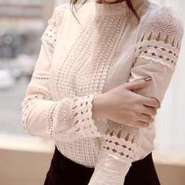 Wholesale Womens Lace Tops Blouses - New Womens Tops Fashion Women Summer Hollow Out Blouse Plus Size Lace Long Sleeved Casual Shirt Free Shipping