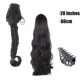Wholesale Hair Clips For Ponytail Extensions - Wholesale- Soft Black 1b Synthetic Plait Claw Clip Ponytail Hair Extensions For Black Women Long Thick Braid Drawstring Ponytail Hairpiec
