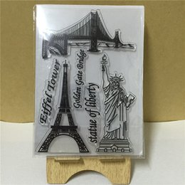 Wholesale Stamp Eiffel - Wholesale- famous building Eiffel tower Statue of Liberty Transparent Clear Stamp DIY Silicone Seals Scrapbooking Card Photo Album TA-051