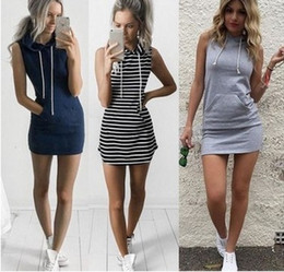 Wholesale fashion cocktail party - Fashion Women Sexy Summer Bandage Bodycon Evening Party Cocktail Casual Short Mini Dress Womens Clothing Stripe Hooded Sleeveless Slim Dress