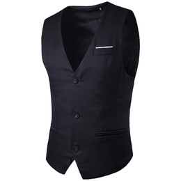 Wholesale Buckle Vests - Brand clothing 2017 autumn new fashion chest color fight single row three buckle men's gentleman suit vest Slim fashion