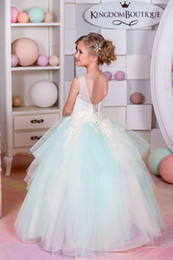 Wholesale Two Tiered Wedding Dress - Beautiful Flower Girls Dresses 2017 with Crew Neck and Lace Up Back Two Tones Tulle 3D Floral Little Girl Birthday Gowns Floor Length